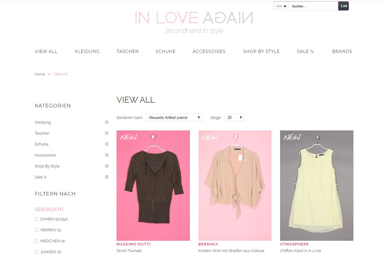 in love again secondhand online shop vintage